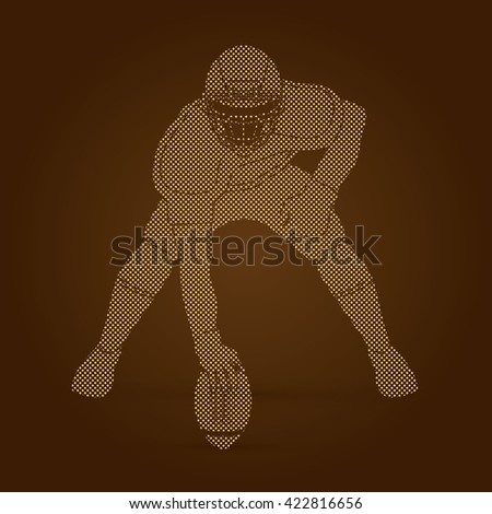 American football player posing designed using dots pattern graphic vector - stock vector
