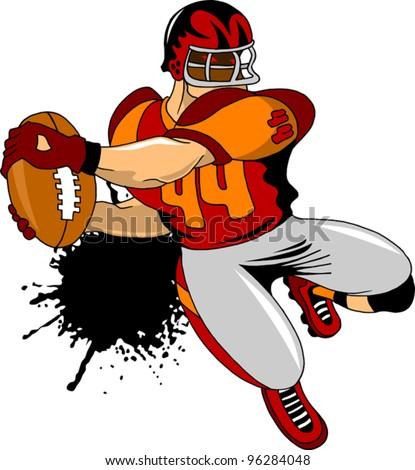 American football player preparing to throw (illustration); - stock vector