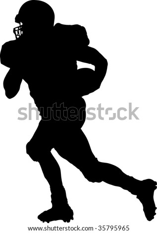 american football player running with the ball - stock vector