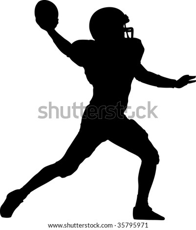 american football player throwing the ball - stock vector
