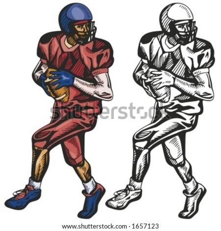 American football player. Vector illustration - stock vector