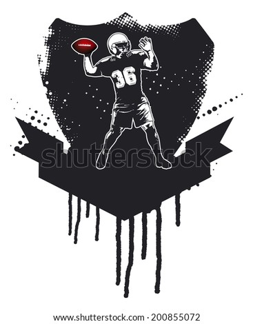 american football player with grunge shield - stock vector