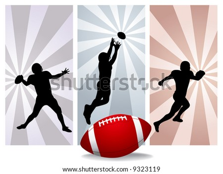 American football players. Easy change colors. (Check out my portfolio for other silhouettes) - stock vector
