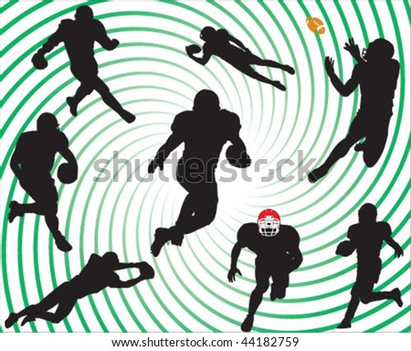 American football players silhouettes vector - stock vector