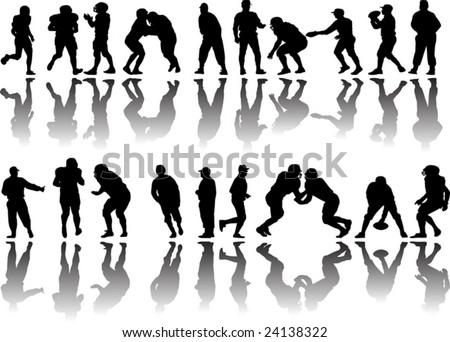 American football players vector - stock vector