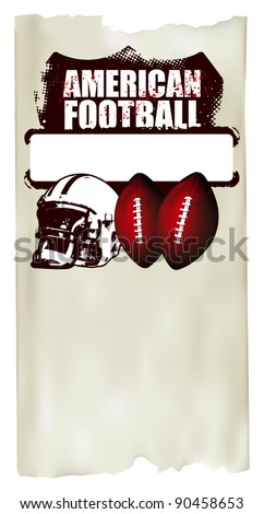 american football poster with old paper background - stock vector