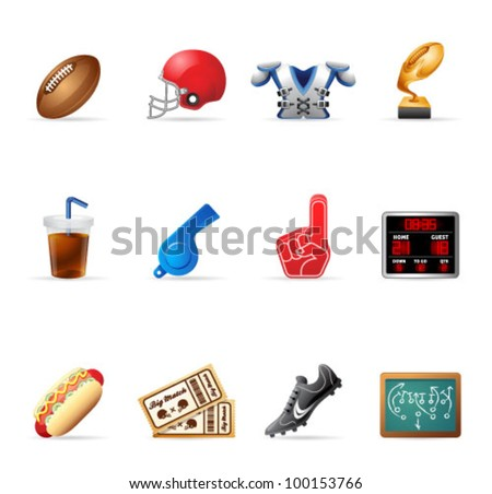 American Football related icons. Transparent shadows placed on layer beneath. - stock vector