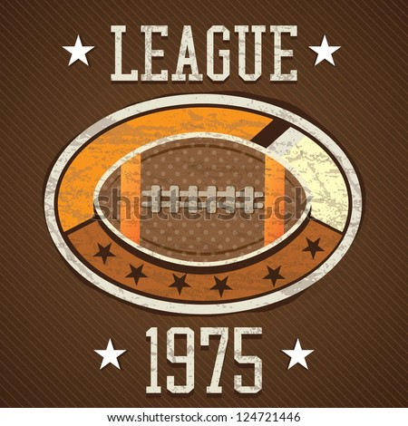 American Football retro label 1975 league, on brown background - stock vector