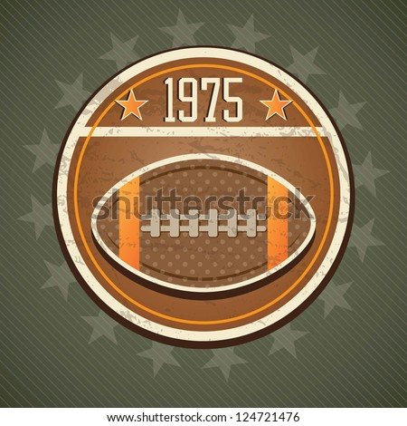 American Football retro label, on vintage background
