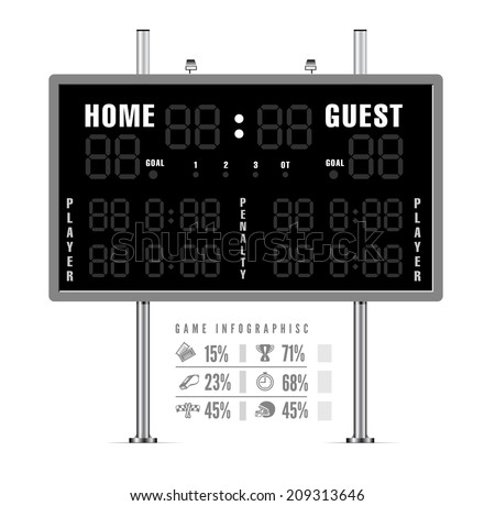 American football scoreboard with infographics. Vector illustration - stock vector