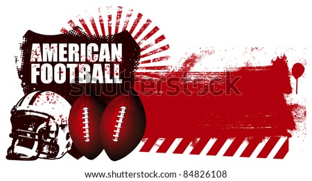 american football shield with grunge red banner - stock vector