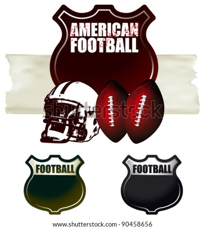 american football shields - stock vector