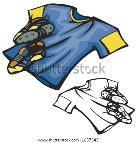 American football shirt and boots. Vector illustration - stock vector