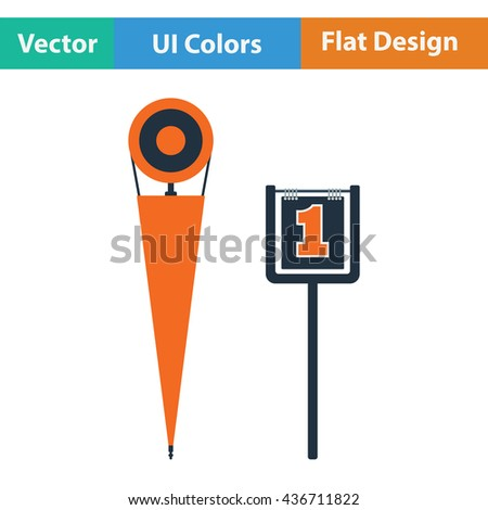 American football sideline markers icon. Flat color design. Vector illustration.