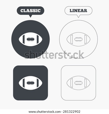 American football sign icon. Team sport game symbol. Classic and line web buttons. Circles and squares. Vector