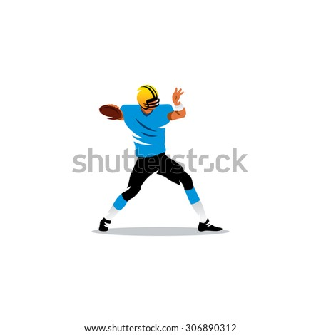 American football sign. Player sends the ball. Vector Illustration. Branding Identity Corporate logo design template Isolated on a white background