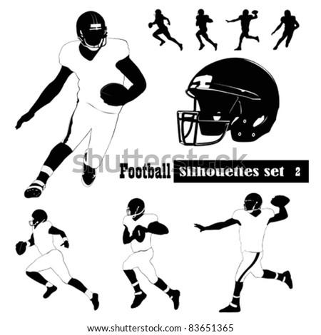 American Football Silhouettes - Vector illustrations - stock vector