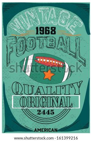 american football sketch and t shirt print - stock vector