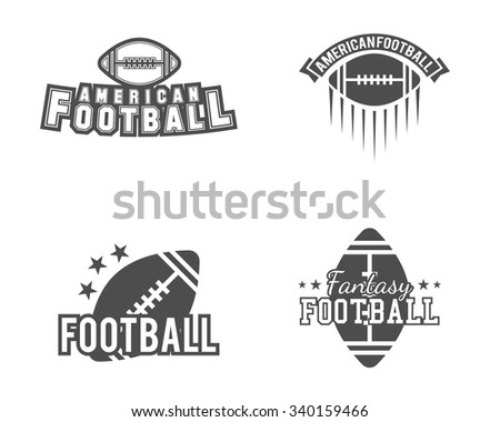 American football team, college badges, logos, labels, insignias set in retro style. USA sport symbol. Graphic vintage design for t-shirt, web. Monochrome print isolated on a white background. Vector. - stock vector
