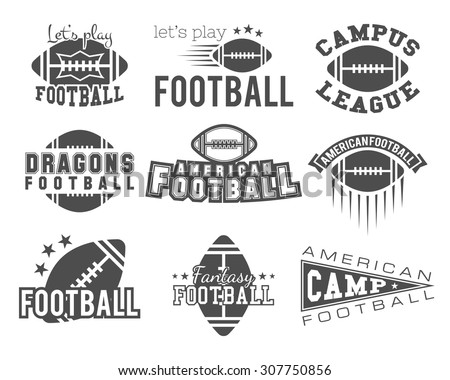 American football team, training camp, college badges, logos, labels, insignia in retro style. Graphic vintage design for t-shirt, web. Monochrome print isolated on a white background. Vector. - stock vector