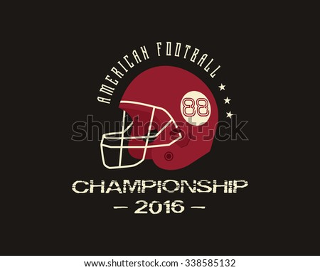 American football university championship badge, logo, label, insignia with helmet in retro color style. Graphic vintage design for t-shirt, web. Football emblem. Equipment for football. Vector - stock vector