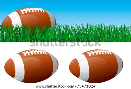 American football. Vector banner of American football ball on green grass. American football ball isolated on white background