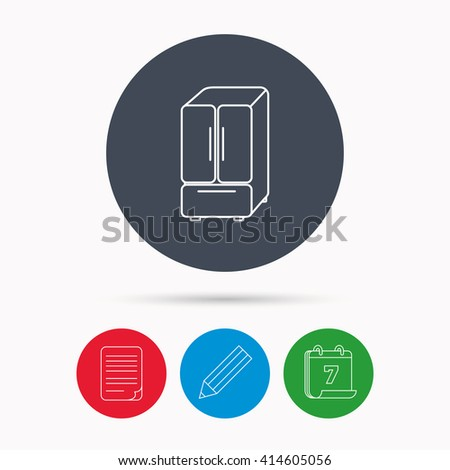 American fridge icon. Refrigerator sign. Calendar, pencil or edit and document file signs. Vector - stock vector
