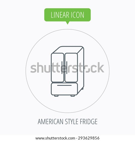 American fridge icon. Refrigerator sign. Linear outline circle button. Vector - stock vector