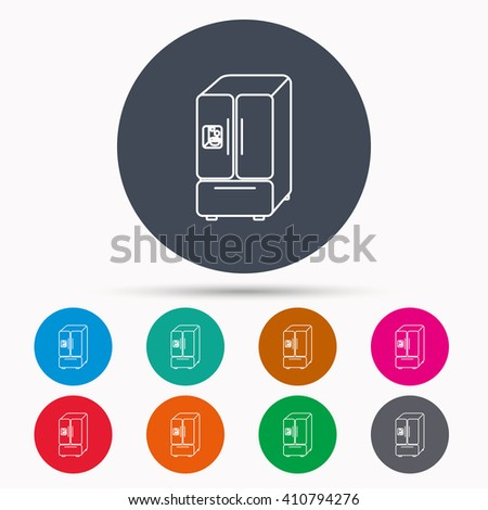 American fridge icon. Refrigerator with ice sign. Icons in colour circle buttons. Vector - stock vector