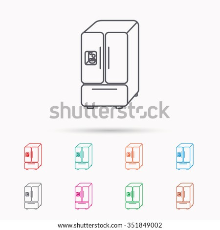 American fridge icon. Refrigerator with ice sign. Linear icons on white background. - stock vector
