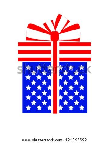 American gift box. - stock vector