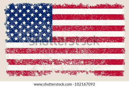 American grunge flag - stock vector