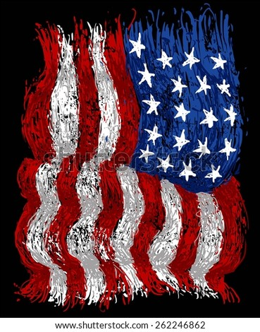 american grunge flag - stock vector