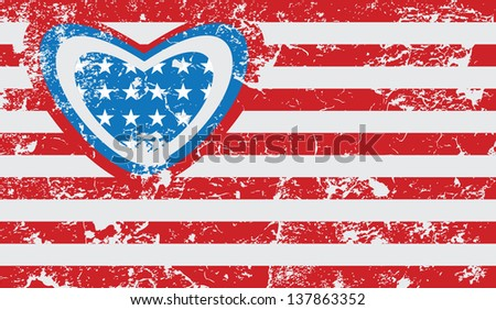 American grunge flag. Abstract illustration. - stock vector