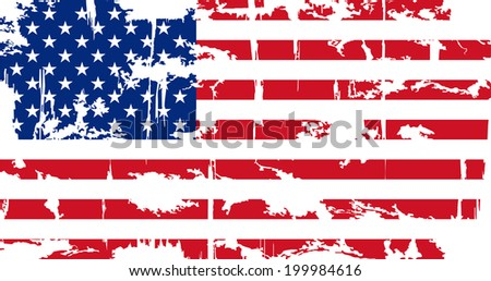 American grunge flag. Grunge effect can be cleaned easily. Vector illustration. - stock vector