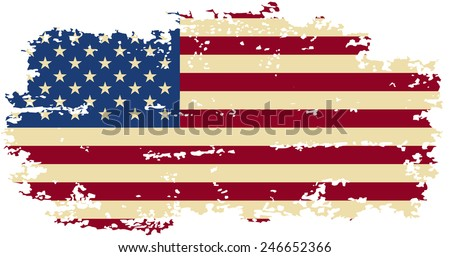 American grunge flag. Vector illustration. Grunge effect can be cleaned easily. - stock vector