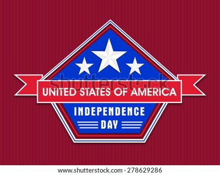 American Independence Day celebration sticker, tag or label with stylish text United States of America on red background. - stock vector