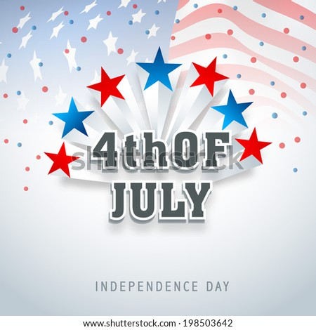 American Independence Day celebrations with colorful stars and stylish text on flag waving background.  - stock vector
