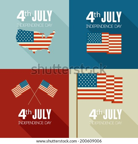 American Independence Day  Patriotic background. Vector Flat design - stock vector