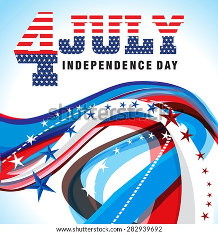 american independence day wave background Vector illustration