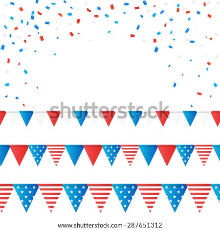 American independence 4 July element flags and confetti background. Vector illustration. Layered. - stock vector