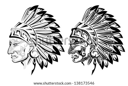 American Indian chief tattoo - stock vector