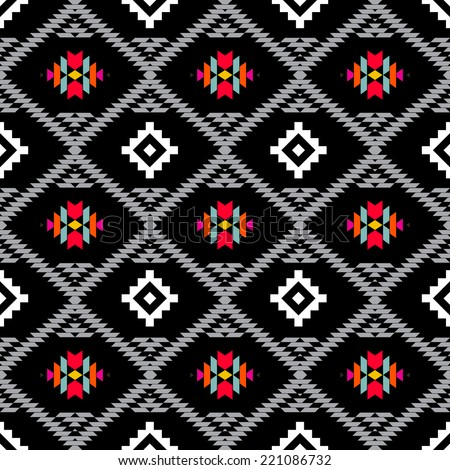 American indian ethnic geometric seamless pattern.Black and white vector pattern.