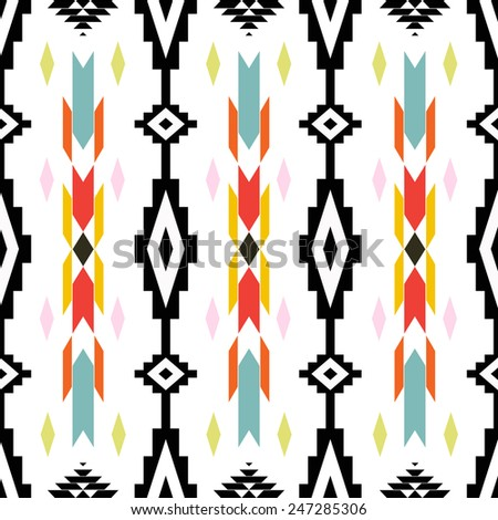 American Indian ethnic geometric seamless pattern. Colorful vector pattern.  - stock vector
