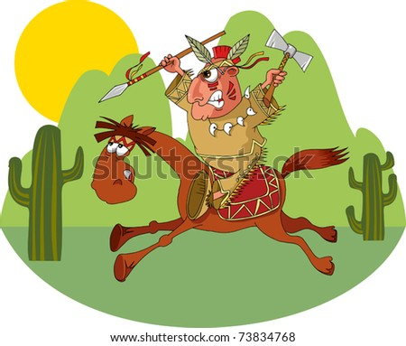 American Indian riding a wild horse (vector illustration); - stock vector