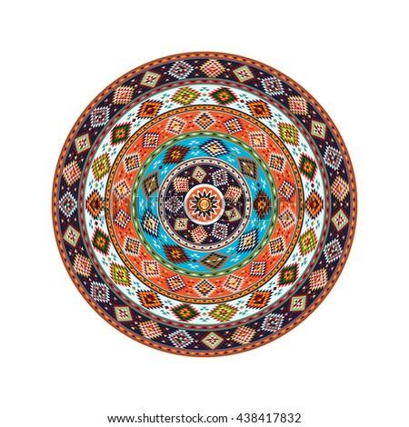 American Indian round decorative design element - stock vector