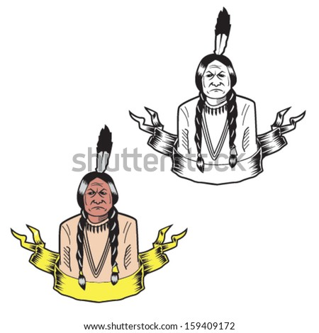 American Indian Vector Illustration - stock vector