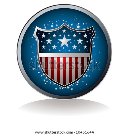American inspired badge with drop shadow and star background - stock vector
