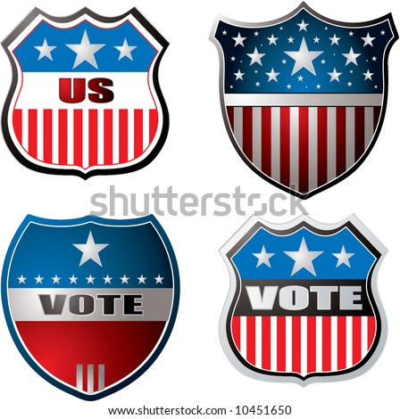 American inspired shields in red white and blue - stock vector