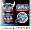 american made in usa retro vintage old school labels - stock photo